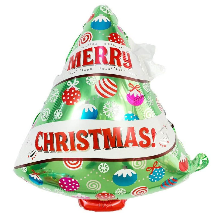 27 Inch Merry Christmas Tree Shaped Helium Supported Foil Balloon - Christmas Party Decorations