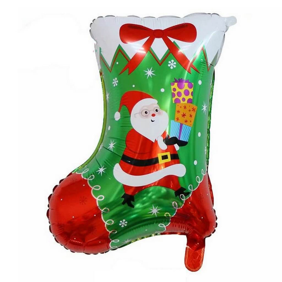 "28"" Giant Christmas Stocking Shaped Foil Balloon - Xmas Party Decorations"