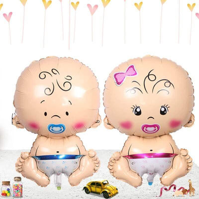 Baby Girl Baby Boy Shaped 28'' Super Shape Helium Foil Balloon - Online Party Supplies