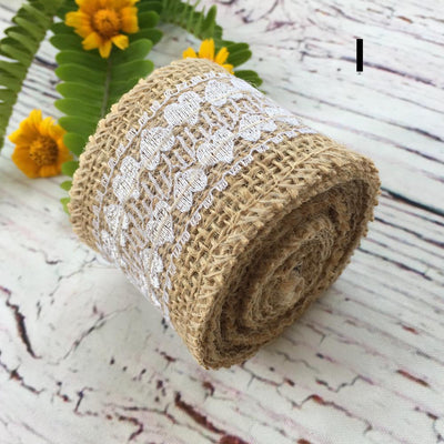 2m Natural Jute Burlap Ribbon Roll with White Lace - Rustic Wedding Decor - Online Party Supplies