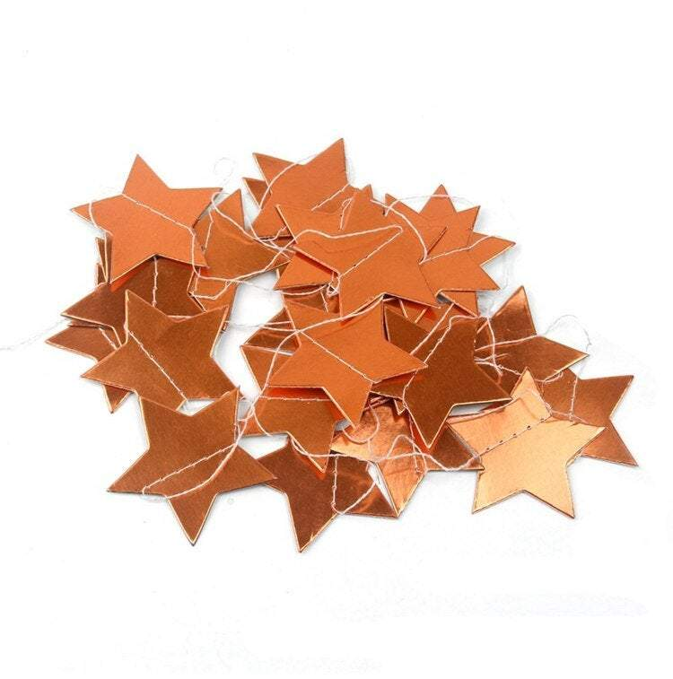 2m Online Party Supplies Rose Gold Metallic Star Garland for Wedding Decorations Baby Shower Decorations