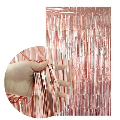 2m x 1m Online Party Supplies Metallic Rose Gold Foil Wedding Fringe Curtain