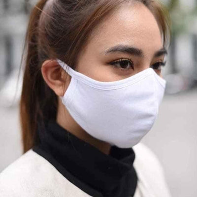 5 x Triple Layer 100% Cotton Reusable Washable Protective Face Mask for Adults - White - Medium Size