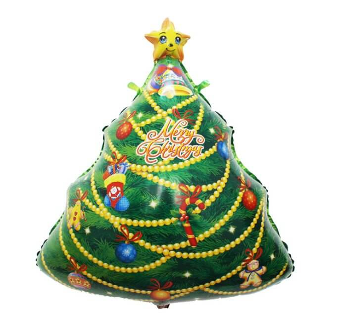 30 Inch Merry Christmas Tree Shaped Helium Supported Foil Balloon - Christmas Party Decorations