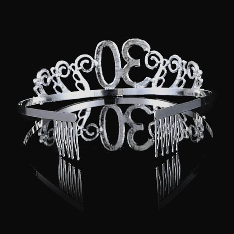 Premium Quality Metal Silver Rhinestone 30th Birthday Tiara - 30th Birthday Party Decorations