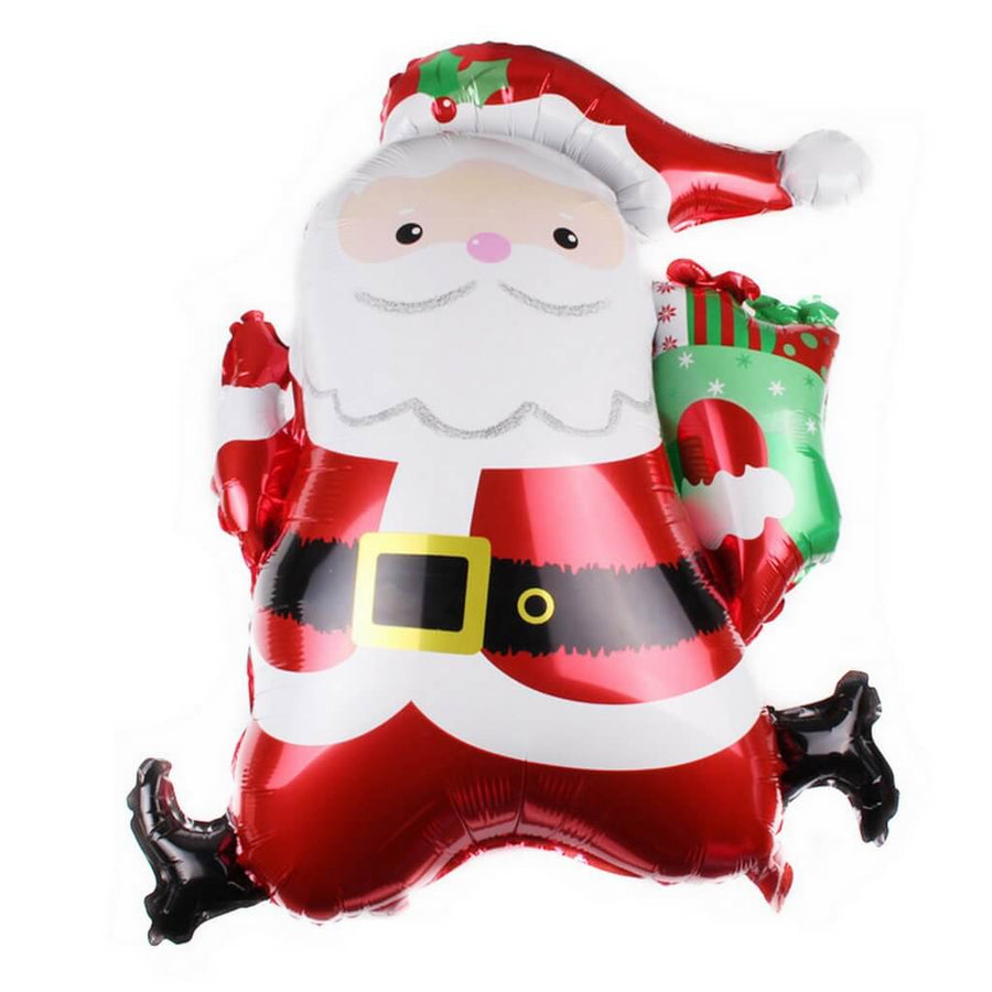 "31"" Santa Claus Carrying Christmas Stocking Helium Supported Foil Balloon - Christmas Party Decorations"