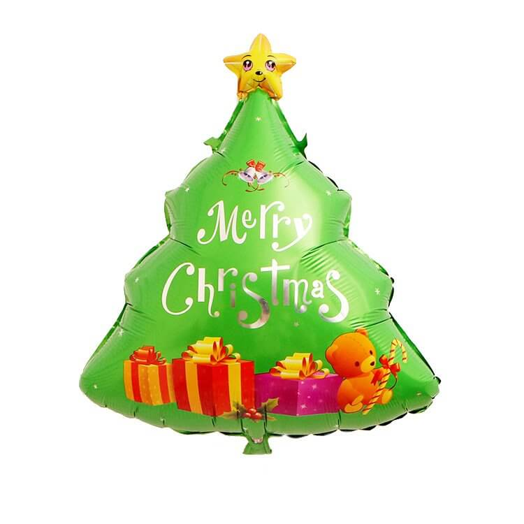 31 Inch Merry Christmas Tree Teddy Bear Shaped Helium Supported Foil Balloon - Christmas Party Decorations