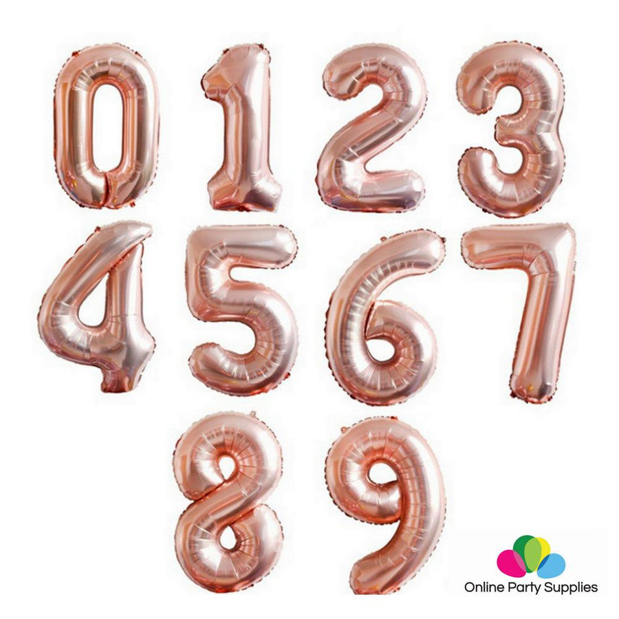 32 Inch Giant Rose Gold 0-9 Number Foil Balloons