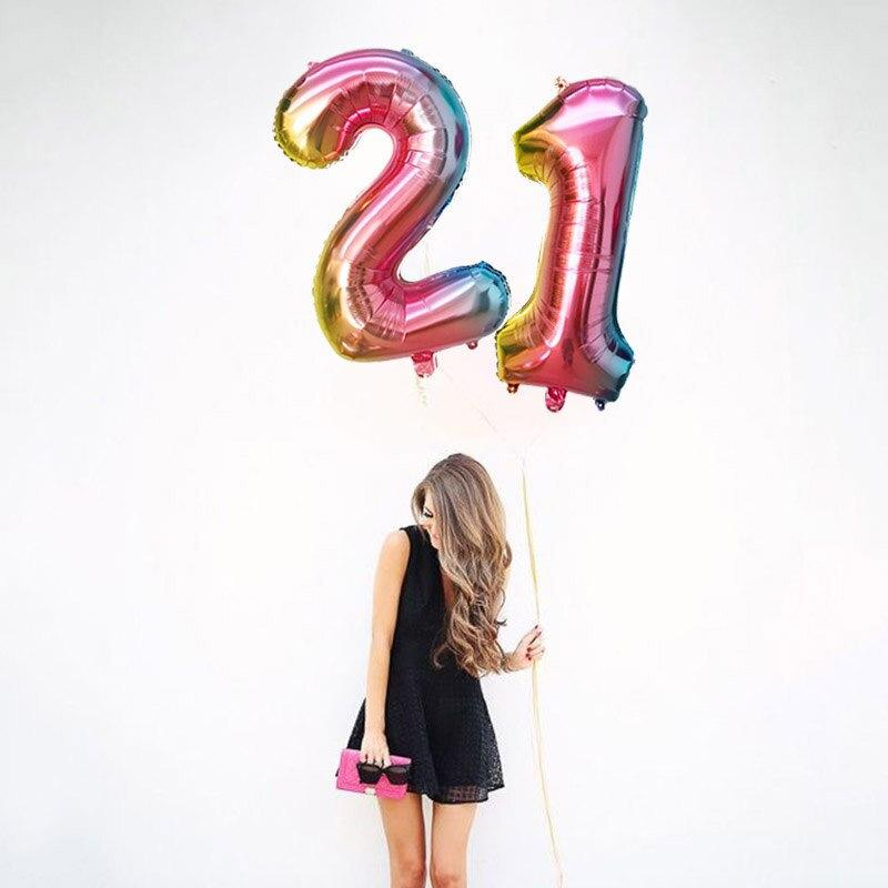 "32"" Iridescent Rainbow Ombre Number 0-9 Foil Balloon"