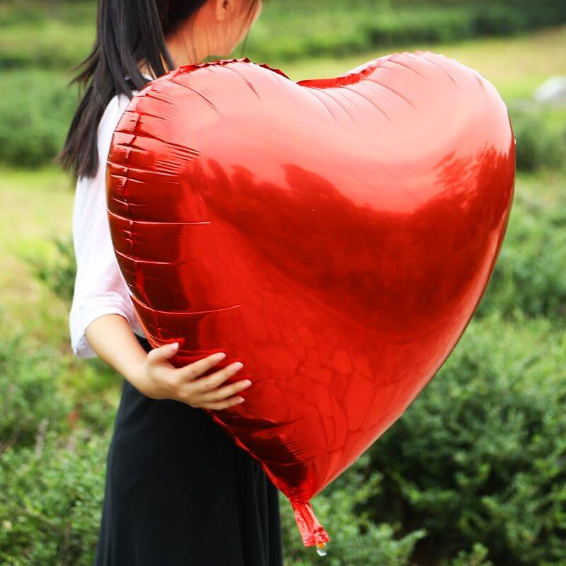 32 Inch Red Heart Foil Balloon - Valentine's Day, Wedding, Proposal and Birthday Party Decorations