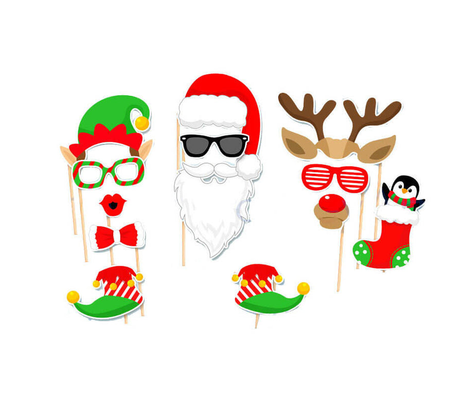 Christmas Party Photo Booth Props (32 pieces) - Fun Creative Xmas Party Decorations