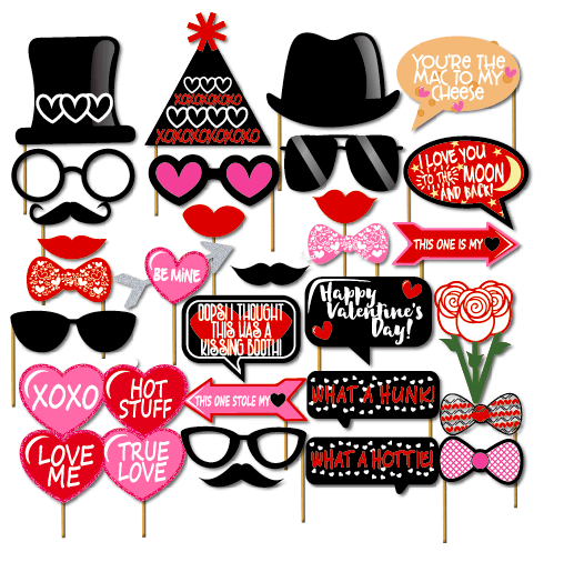 Valentine's Day Photo Booth Props Pack of 32