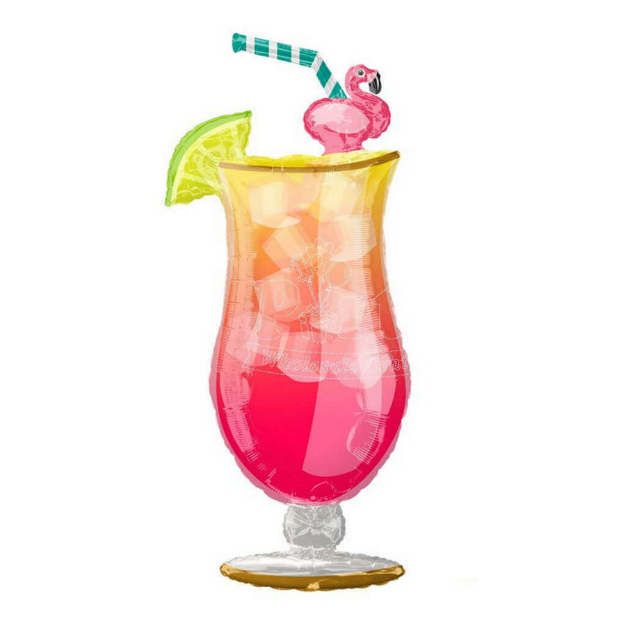 "33"" Giant Tropical Flamingo Cocktail Glass Foil Balloon"