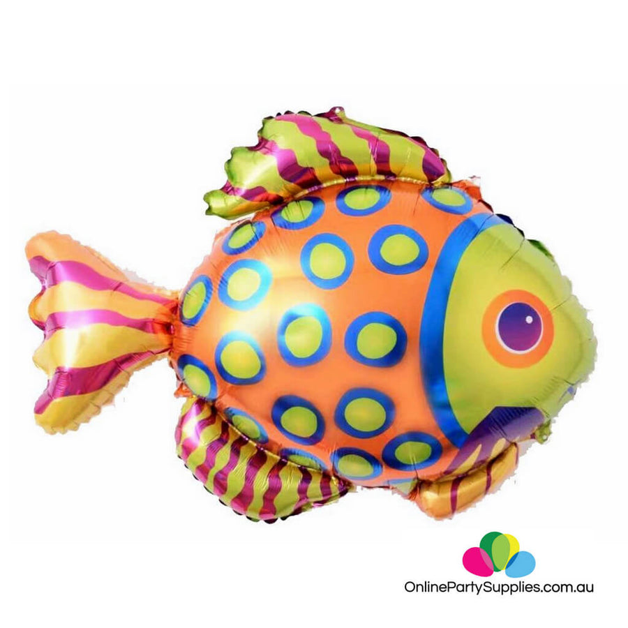 "30"" Rainbow Tropical Fish Foil Balloon  - Mermaid Under The Sea Ocean Themed Birthday Party Decorations"