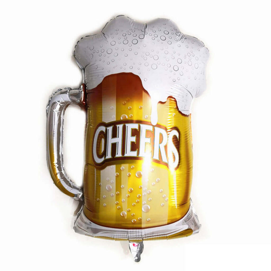 34 inch giant white frosty cheers beer mug shaped foil balloon