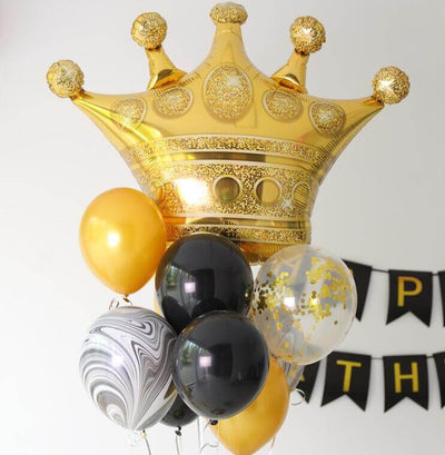"35"" Online Party Supplies Jumbo Golden Crown Super Shaped Foil Royal Themed Party Balloon"