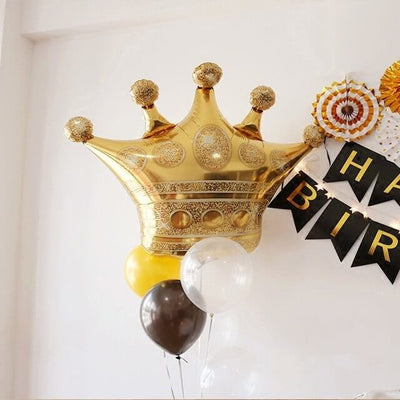 "35"" Online Party Supplies Jumbo Golden Crown Super Shaped Foil Balloon"