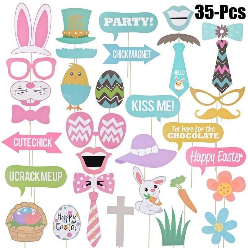 Happy Easter Bunny Rabbit Paper Photo Booth Props Pack of 35 - Easter Themed Party Supplies, Accessories, and Decorations
