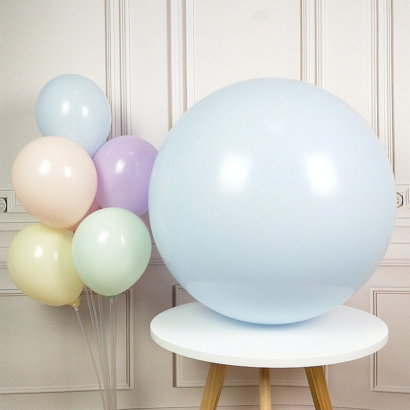 24 Inch Jumbo Pastel Lilac Mint Green Pink Yellow Peach Blue Round Macaron Latex Wedding Balloons
