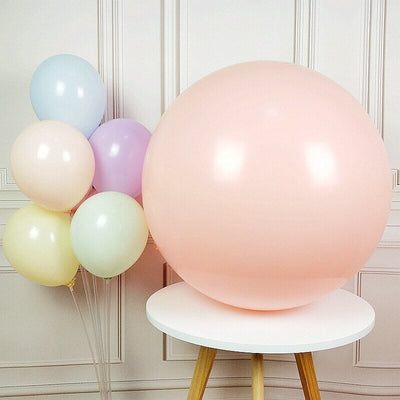 36 Inch Jumbo Pastel Peach Round Macaron Latex Wedding Balloons