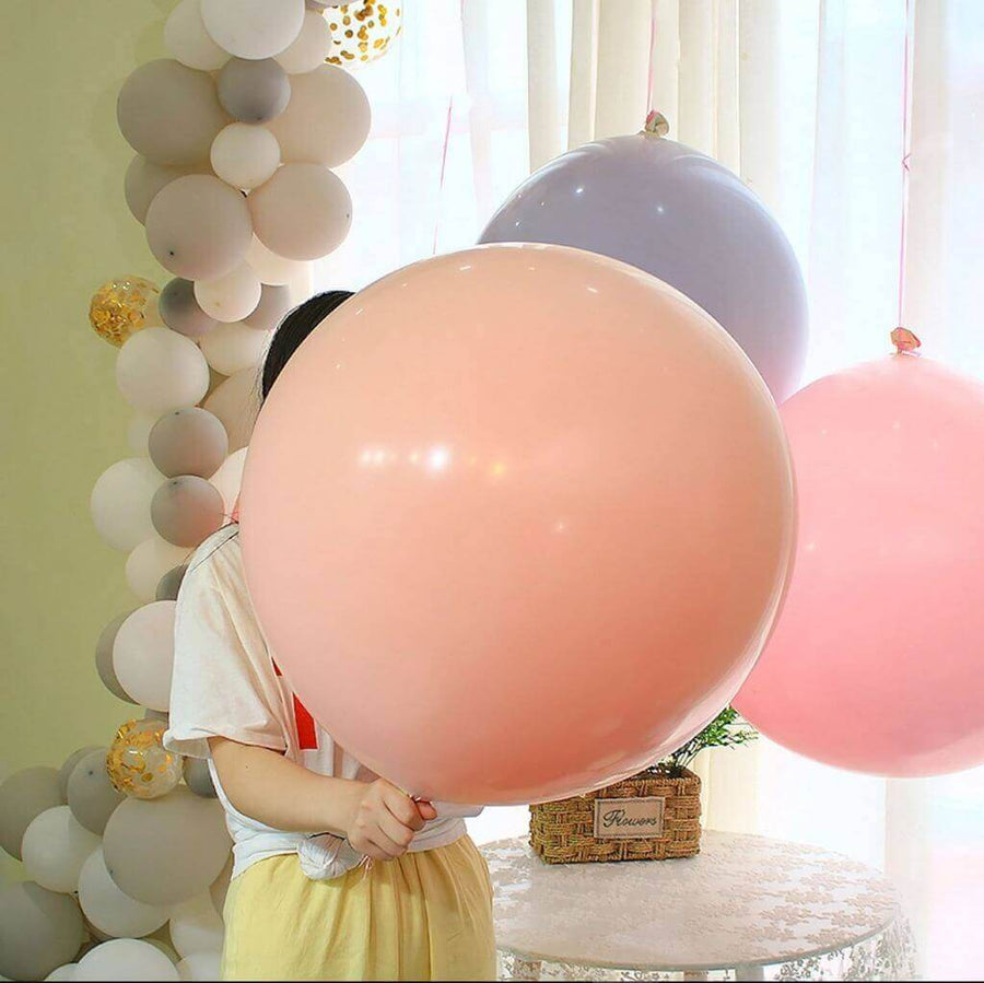 "36"" Jumbo Pastel Peach Round Macaron Latex Wedding Balloon"