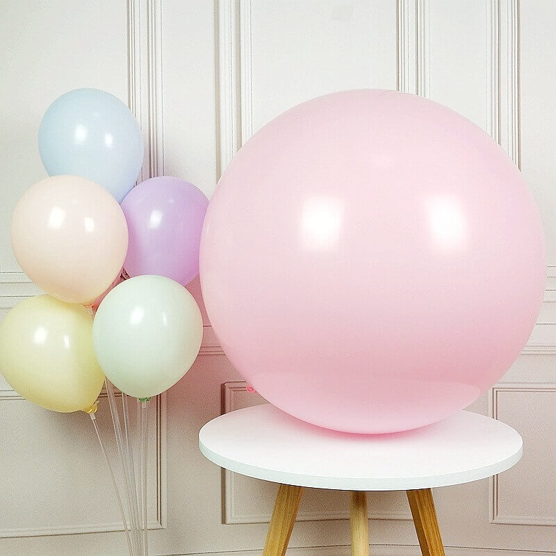 "24"" Jumbo Pastel Pink Round Macaron Latex Birthday Balloon"