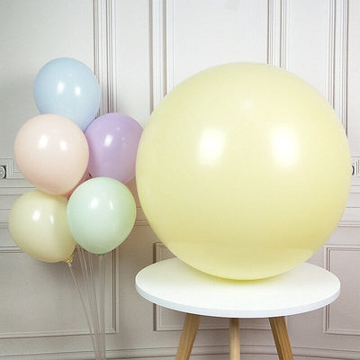 "36"" Jumbo Pastel Yellow Round Macaron Latex Wedding Balloon"