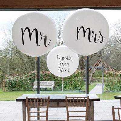 "36"" Jumbo Mr & Mrs Round White Wedding Bridal Shower Balloons (Pack of 2) - Online Party Supplies"