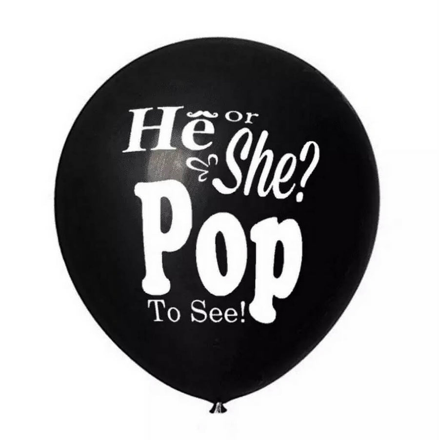 "36"" Jumbo Black 'He Or She? Pop To See!' Gender Reveal Baby Shower Balloon"