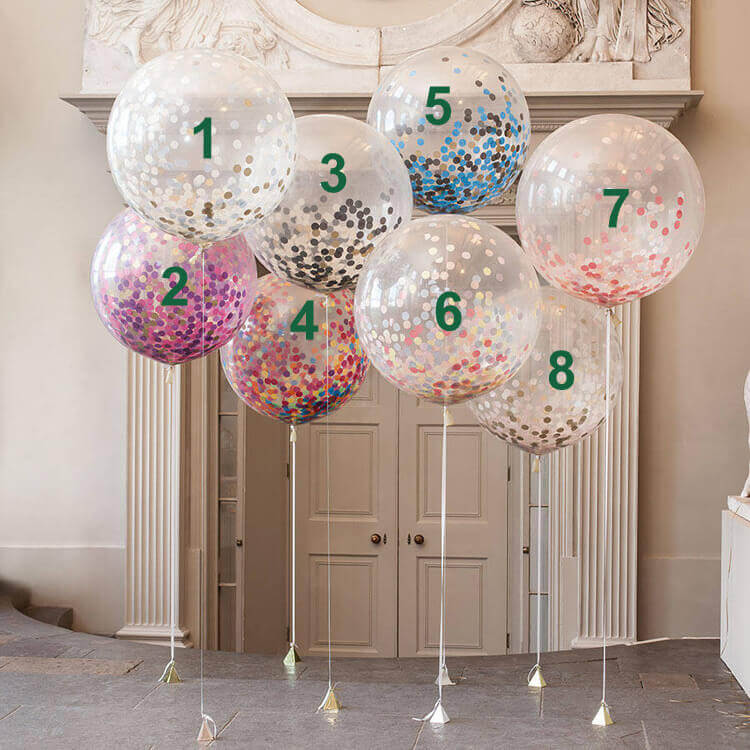 "36"" Jumbo Round Confetti Latex Wedding Baby Bridal Shower Balloons"