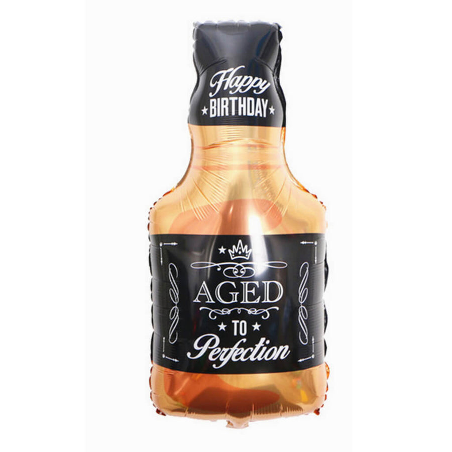"37"" Jumbo 'Aged to Perfection' Whisky Bottle Shaped Helium Happy Birthday Foil Balloon 40s 50s 60s birthday"