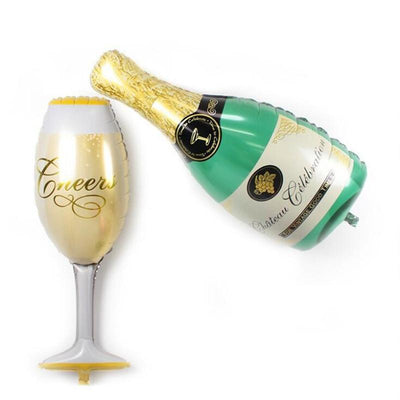 39inch Champagne Bottle & Wine Glass Super Shape Helium Foil Balloon Set - Online Party Supplies