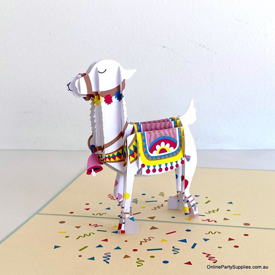 Handmade Baby Llama Pop Up Greeting Card - 3D Animal Pop Out Cards