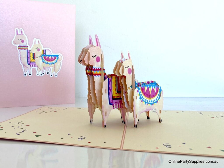 Handmade Mum and Bub Llama 3D Pop Up Mother's Day Card