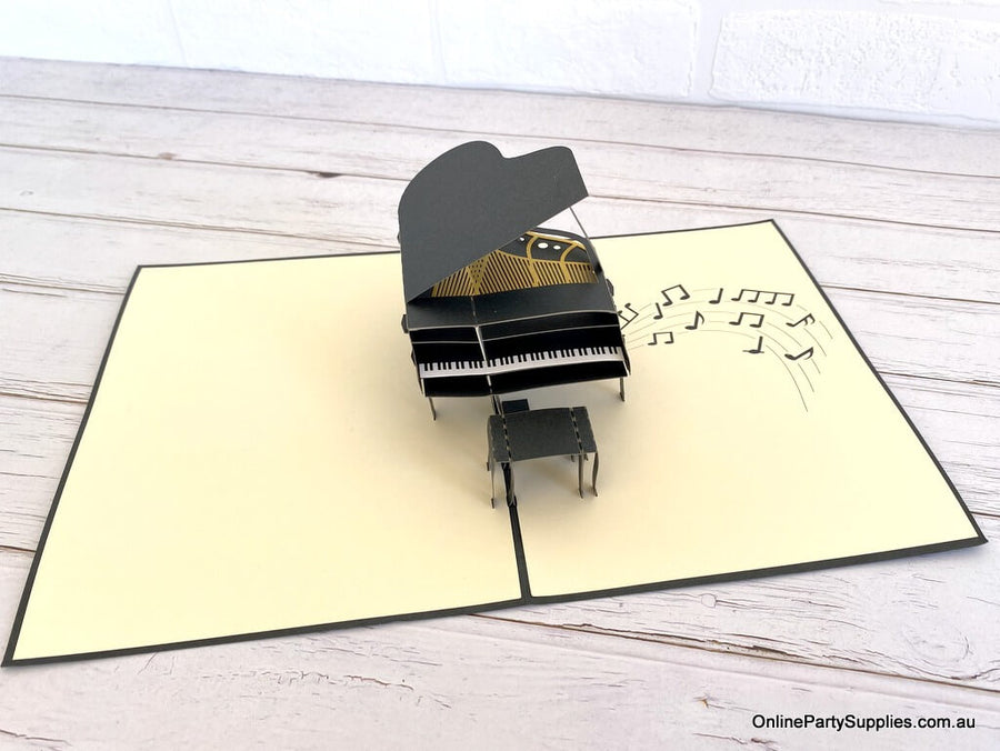 Online Party Supplies Australia Handmade Grand Piano 3D Pop Up Card - Pop Up Musical Instrument Cards