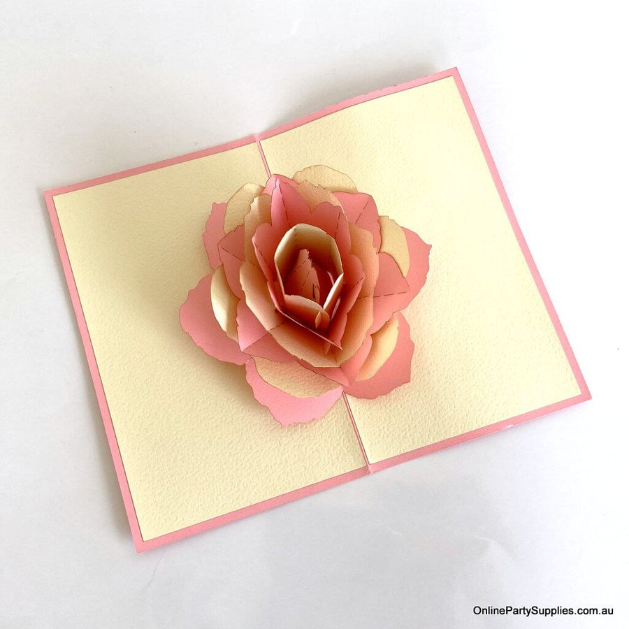 Online party supplies Handmade Red and Pink Rose Flower 3D Pop Up Card - Pop Up Flower Cards