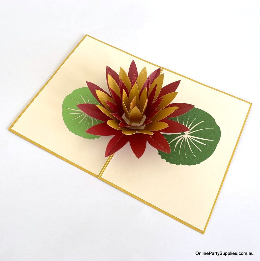 Orange and Red Lotus Flower Pop Up Card - Gold Cover