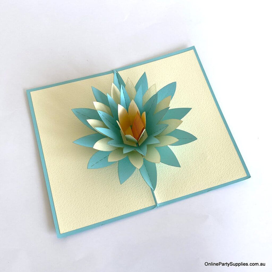 Online Party Supplies Blue and White Lotus Flower Pop Up Card