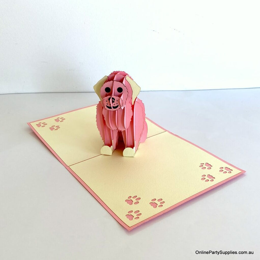 Handmade Cute Sitting Pink Puppy Dog 3D Pop Up Birthday Card - 3D Animal Cards