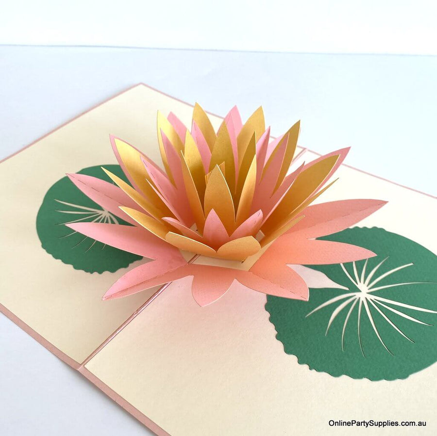 Online Party Supplies yellow and pink Lotus Flower Pop Up Card