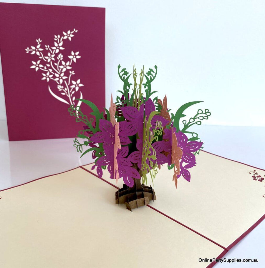 Online Party Supplies Handmade Pink and Red Flower 3D Greeting Card