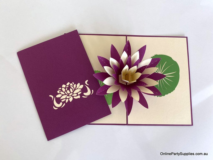 Online Party Supplies purple and white Lotus Flower Pop Up Card