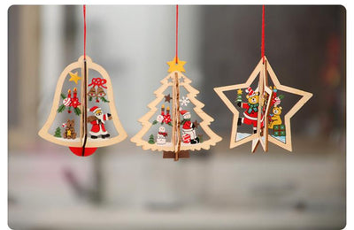Online Party Supplies 3D Wooden Christmas Tree Hanging Ornaments