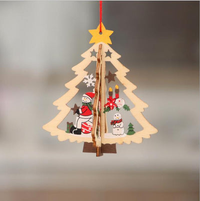 Online Party Supplies 3D Wooden Christmas Tree Hanging Ornaments - 3D Xmas tree