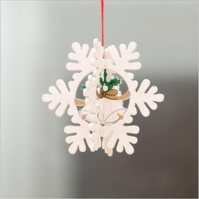 Online Party Supplies 3D Wooden Christmas Tree Hanging Ornaments - 3d white snowflake