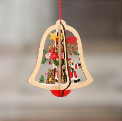 Online Party Supplies 3D Wooden Christmas Tree Hanging Ornaments -  Xmas bell