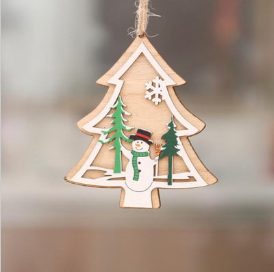 Online Party Supplies 3D Wooden Christmas Tree Hanging Ornaments - Xmas tree