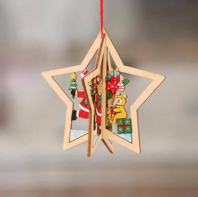 Online Party Supplies 3D Wooden Christmas Tree Hanging Ornaments - 3D Xmas star