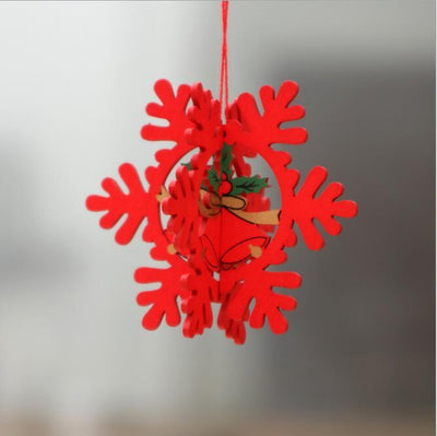 Online Party Supplies 3D Wooden Christmas Tree Hanging Ornaments - 3D Red snowflake