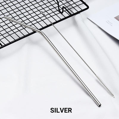 4 Pack Silver Stainless Steel Drinking Straws + Cleaning Brush & Natural Canvas Storage Pouch - Online Party Supplies